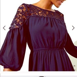 Loft- Large- navy blue dress